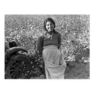 Trabajador emigrante al lado de un campo del tarjetas postales