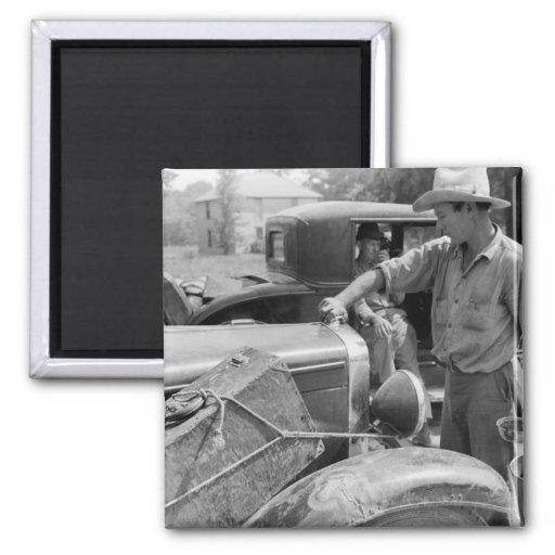 Trabajador migratorio Cars, 1940 de la fruta Imán Cuadrado