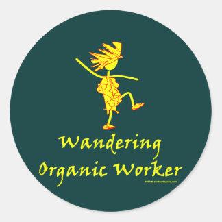 Trabajador orgánico que vaga ALTAVOZ DE GRAVES Pegatinas Redondas
