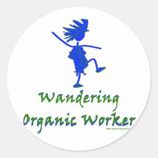Trabajador orgánico que vaga (ALTAVOZ DE GRAVES) Pegatina Redonda
