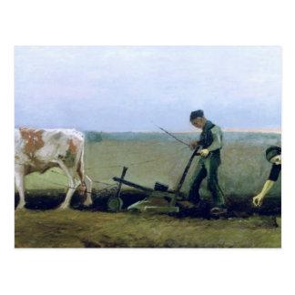 Trabajador y campesino que plantan las patatas, postal