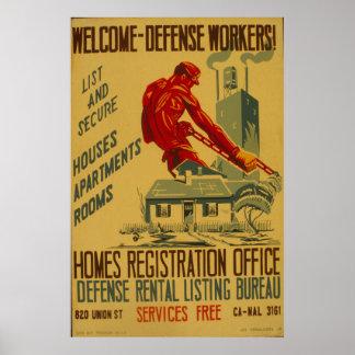 Trabajadores agradables de la defensa posters
