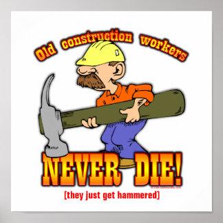 Trabajadores de construcción poster