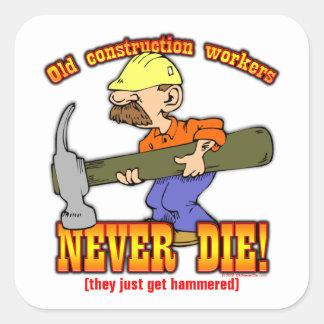 Trabajadores de construcción colcomanias cuadradass