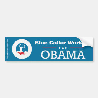 Trabajadores de cuello azul para Obama Pegatina De Parachoque