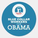 Trabajadores de cuello azul para Obama Pegatinas Redondas