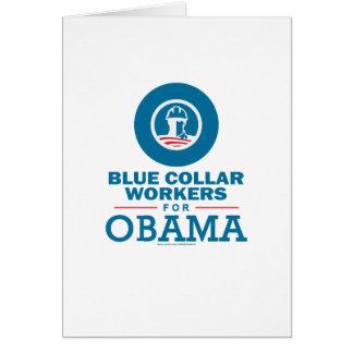 Trabajadores de cuello azul para Obama Tarjeta