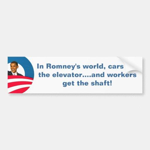Trabajadores de los ejes de Obama - de Romney Etiqueta De Parachoque