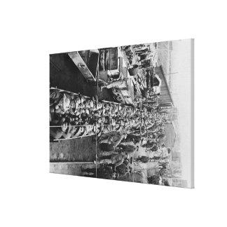 Trabajadores de mina de la ocasión que cargan para impresión en lona