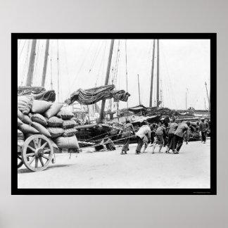 Trabajadores de muelle en Hong Kong 1908 Posters