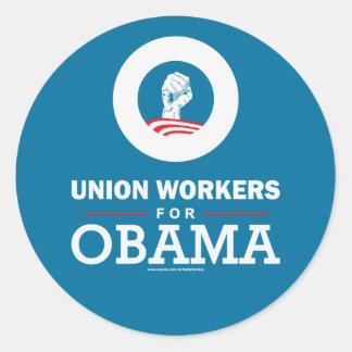 Trabajadores de unión para Obama Etiqueta Redonda