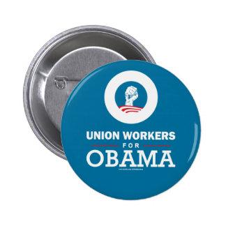 Trabajadores de unión para Obama Pin Redondo 5 Cm