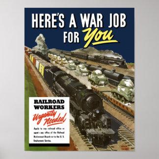 Trabajadores del ferrocarril necesarios urgente -- póster