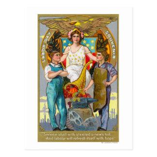 Trabajadores del recuerdo del Día del Trabajo con Postal