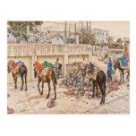 Trabajadores en Santorini Grecia Postal