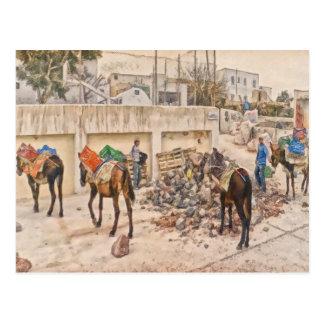 Trabajadores en Santorini Grecia Postales