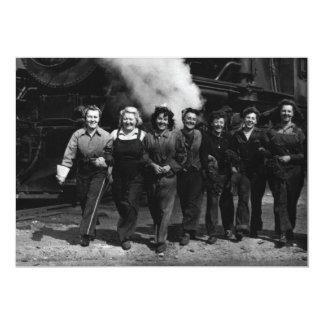 """Trabajadores inspirados del ferrocarril de las invitación 5"""" x 7"""""""
