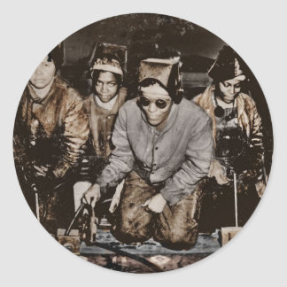 Trabajadores siderúrgicos afroamericanos WWII Pegatina Redonda