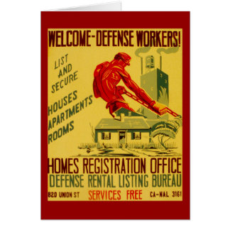 Trabajadores WWII de la defensa casera Tarjeta De Felicitación