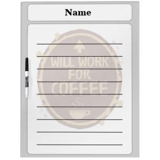 Trabajará para el café pizarra blanca