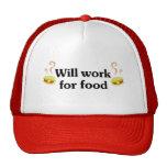Trabajará para la comida gorros bordados
