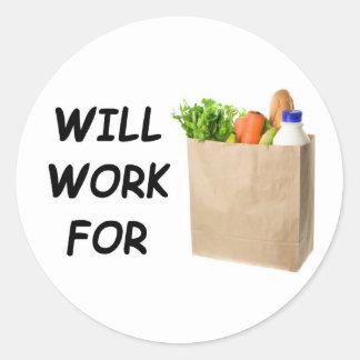 Trabajará para la comida pegatina redonda
