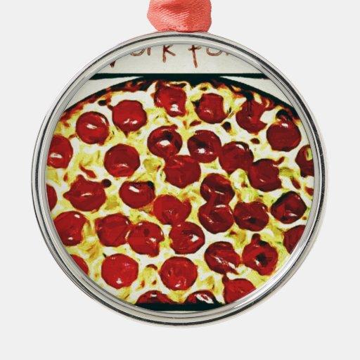 Trabajará para la pizza adorno navideño redondo de metal