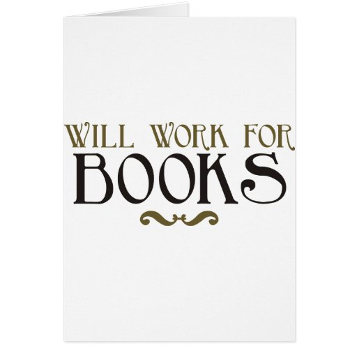 Trabajará para los libros tarjeton