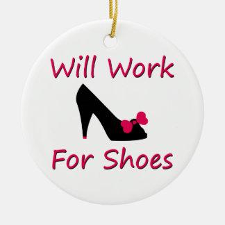Trabajará para los zapatos adorno navideño redondo de cerámica