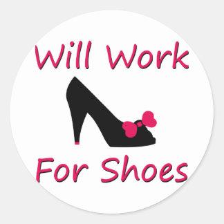 Trabajará para los zapatos pegatina redonda