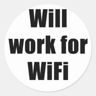 Trabajará para WIfi Pegatina Redonda