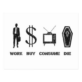 Trabaje, compre, consuma, muera - el círculo de la tarjeta postal