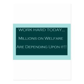 Trabaje el hoy duro, bienestar de MillionsOn depen Tarjeta Postal
