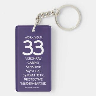 """""""Trabaje su 33"""" llavero del Numerology para el"""