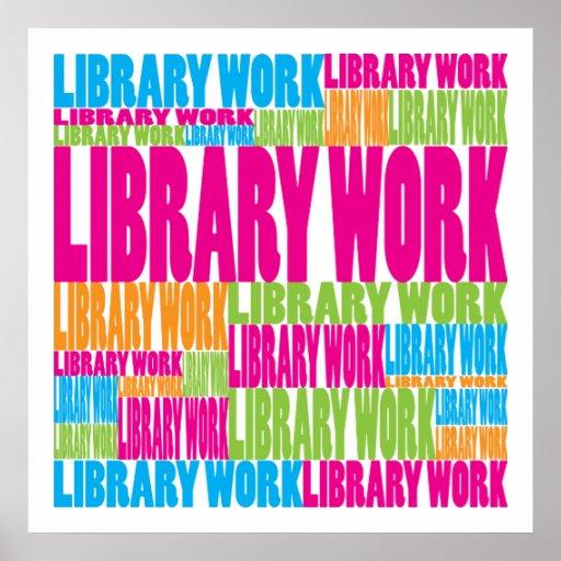 Trabajo colorido de la biblioteca póster
