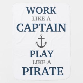 Trabajo como un capitán Nautical Nursery Baby Blan Mantita Para Bebé