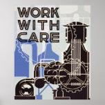 Trabajo con el poster del cuidado