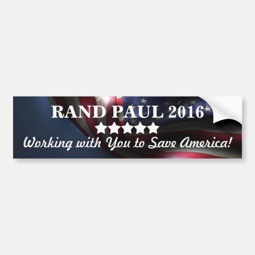 ¡Trabajo con usted para ahorrar América! ~Rand Pau Etiqueta De Parachoque