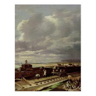 Trabajo constructivo sobre una línea ferroviaria, tarjeta postal
