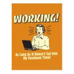 Trabajo: Corte en el tiempo de Facebook Tarjeta Postal