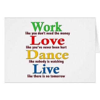 Trabajo danza del amor viva felicitación