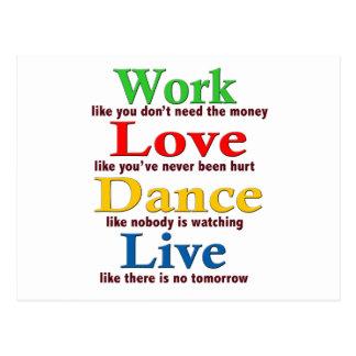 Trabajo, danza del amor, viva postal