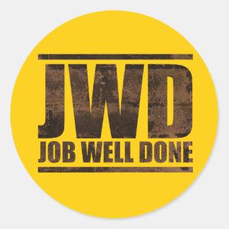 Trabajo de JWD hecho bien - diseño del lavado Pegatina Redonda