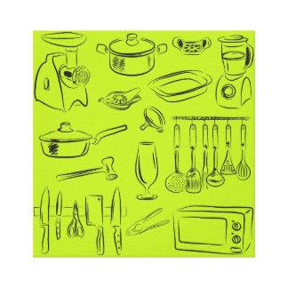 Trabajo de la cocina impresiones en lienzo estiradas