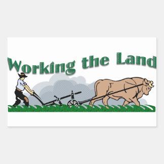 Trabajo de la tierra pegatina rectangular