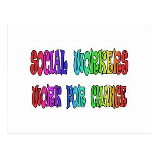 Trabajo de los asistentes sociales para el cambio postales