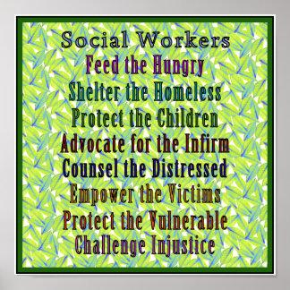¡Trabajo de los asistentes sociales! Póster