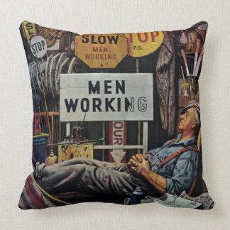 Trabajo de los hombres cojín decorativo