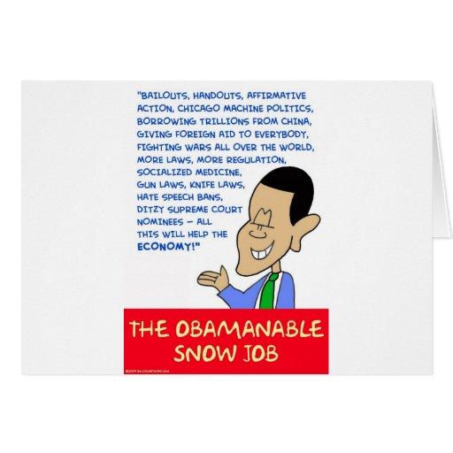 trabajo de nieve obamanable de obama tarjeta