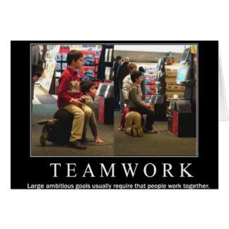 Trabajo del equipo tarjeta de felicitación